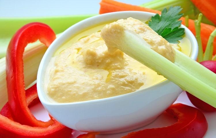 Celery with hummus dip