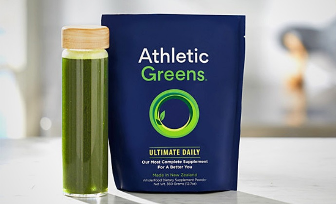 Athletic Greens drink and bottle
