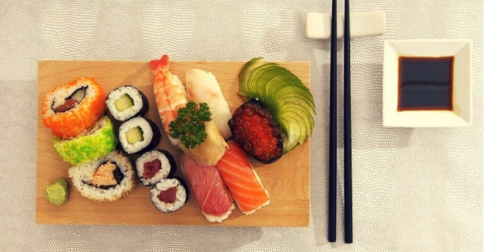 Sushi on table