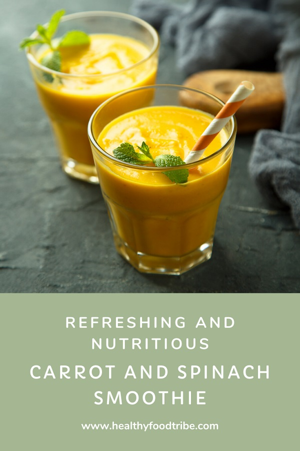 Carrot and spinach smoothie (with apple and ginger)