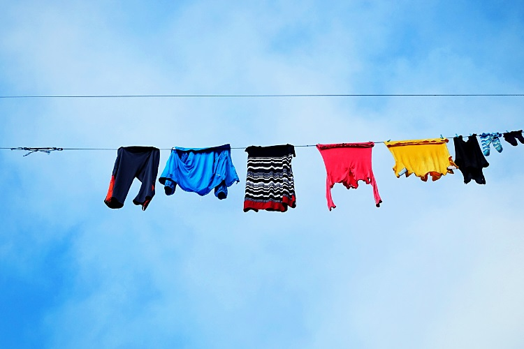 Clothes drying in natural sunlight