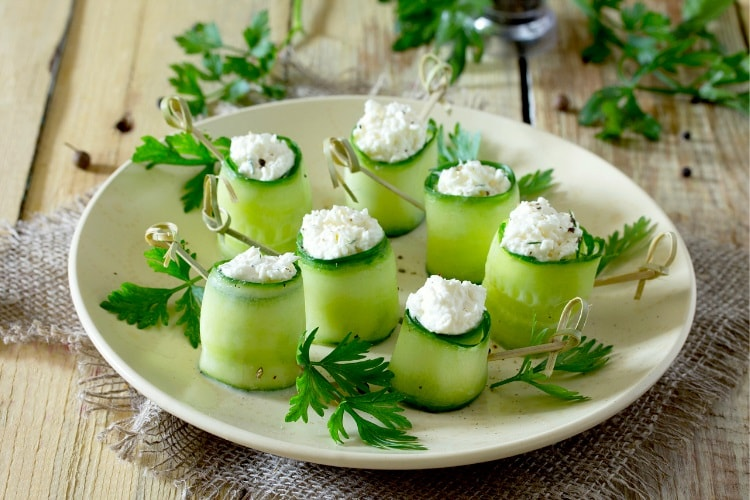 Cucumber with feta cheese