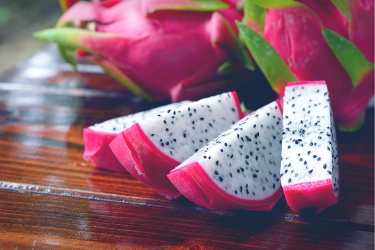 Slices of dragon fruit