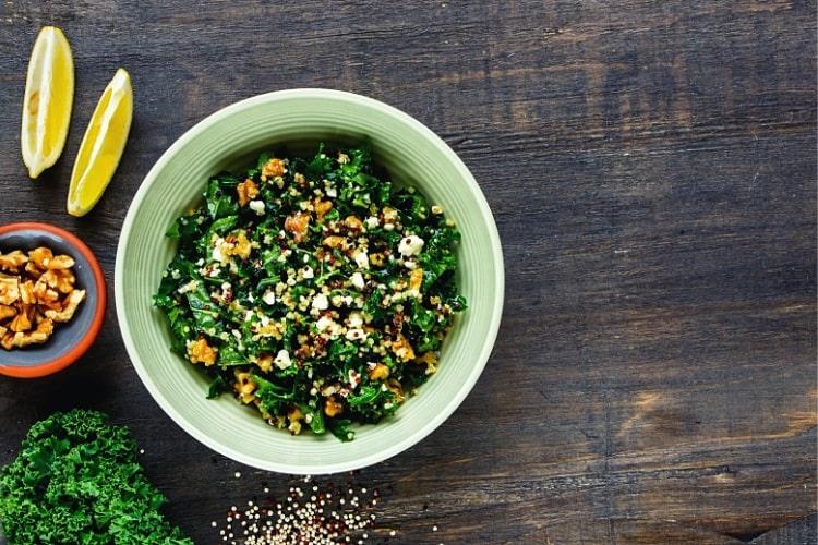 Raw kale quinoa salad