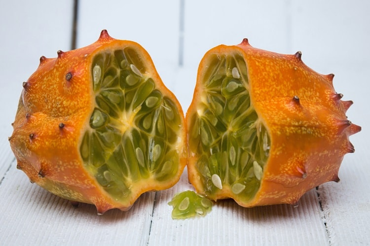 Kiwano fruit cut in two pieces