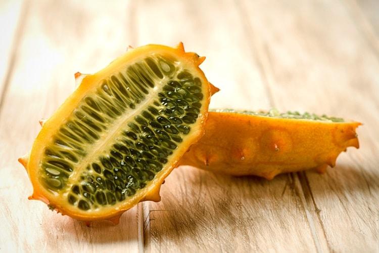 Sliced kiwano fruit