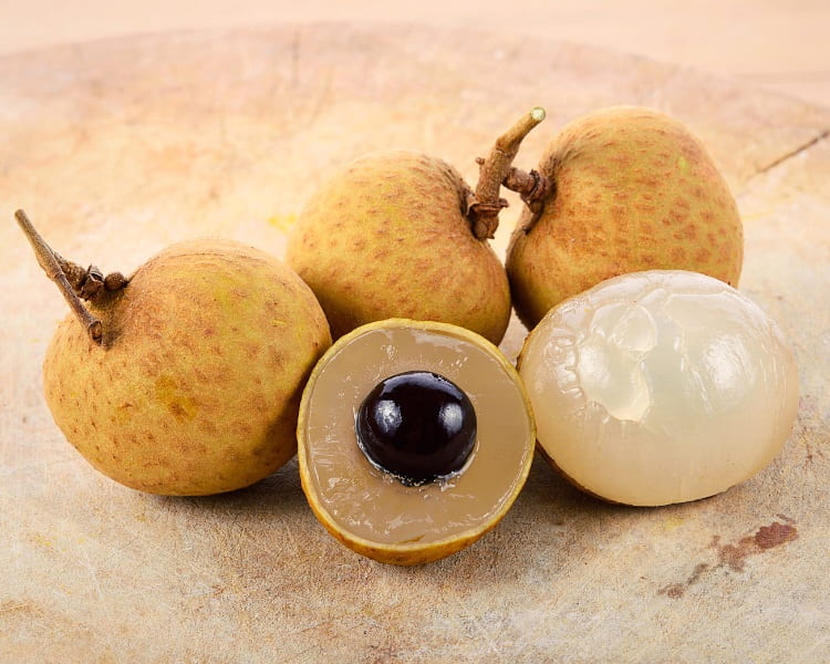 Longan fruit with black seed inside