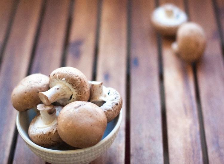 Cremini mushrooms in bowl