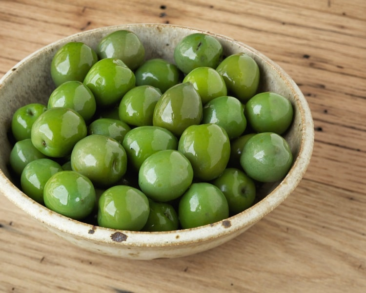 Castelvetrano olives in a bowl