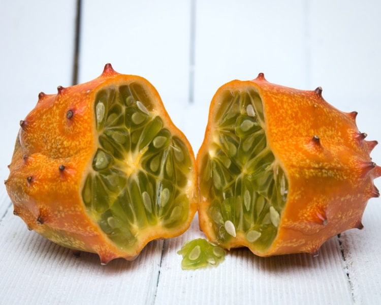 Horned melon cut in two