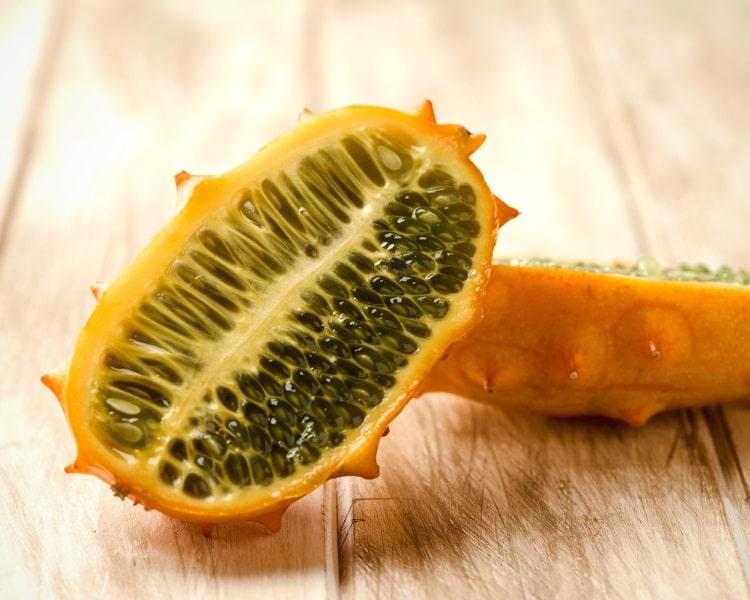 Kiwano melon sliced in half