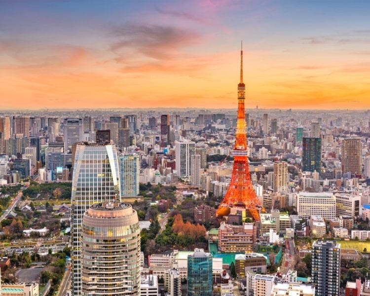 Skyline of Tokyo in Japan