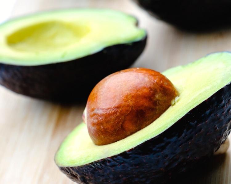 Avocado cut in two