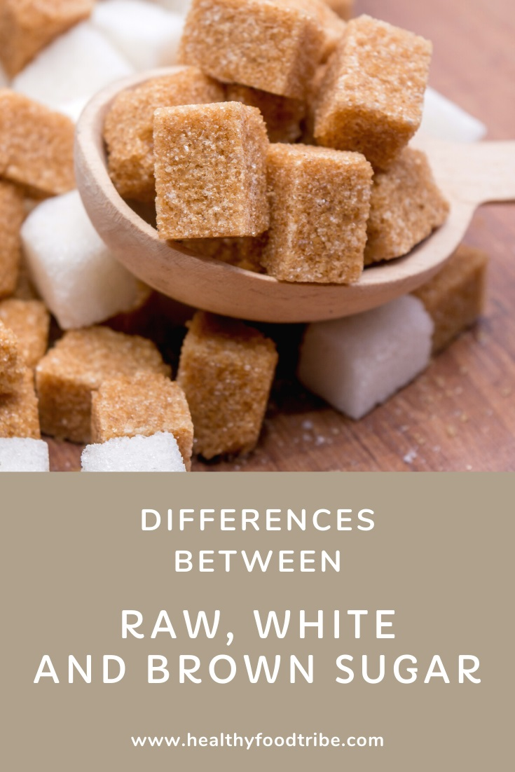 Differences between raw, white and brown sugar