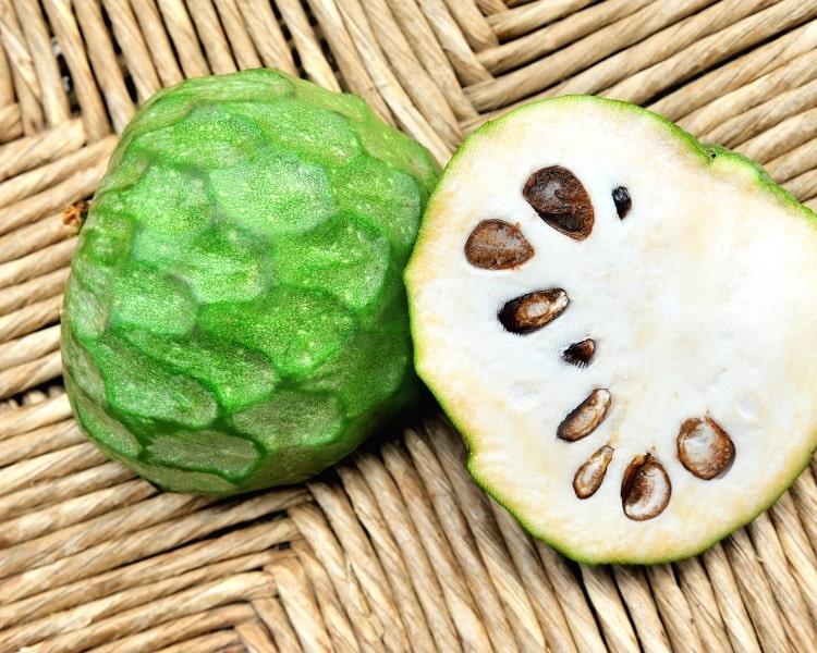 Cherimoya fruit cut in half