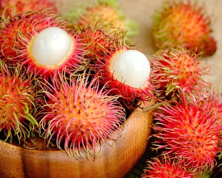 Rambutan fruits in bowl